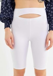 Urban White shiny bike shorts cut out belly